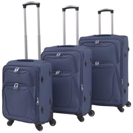 slomart 3 delni komplet mehkih potovalnih kovčkov mornarsko modre barve