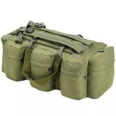 shumee Sportovní taška 3v1 v army stylu, 120 l, olivově zelená