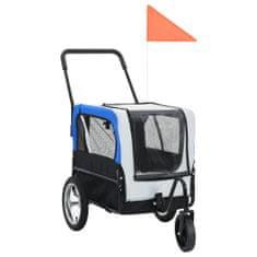 Príves pre domáce zvieratá na bicykel/beh 2-v-1, sivo modrý