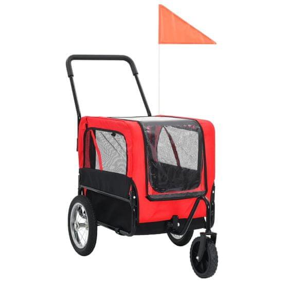 Príves pre domáce zvieratá na bicykel/beh 2-v-1, červeno čierny