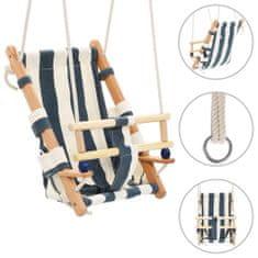Huśtawka dla dzieci z pasem, bawełna i drewno, niebieska