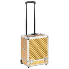 Walizka kosmetyczna na kółkach, 35x29x45 cm, złota, aluminiowa