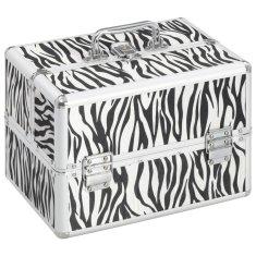 Kuferek na kosmetyki, 22x30x21 cm, w paski zebry, aluminiowy