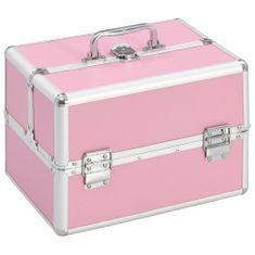 Kuferek na kosmetyki, 22 x 30 x 21 cm, różowy, aluminiowy