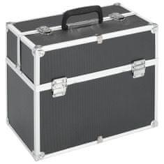 Kuferek na kosmetyki, 37 x 24 x 35 cm, czarny, aluminiowy
