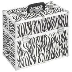 Kuferek na kosmetyki, 37x24x35 cm, w paski zebry, aluminiowy