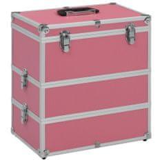 Kuferek na kosmetyki, 37 x 24 x 40 cm, różowy, aluminiowy