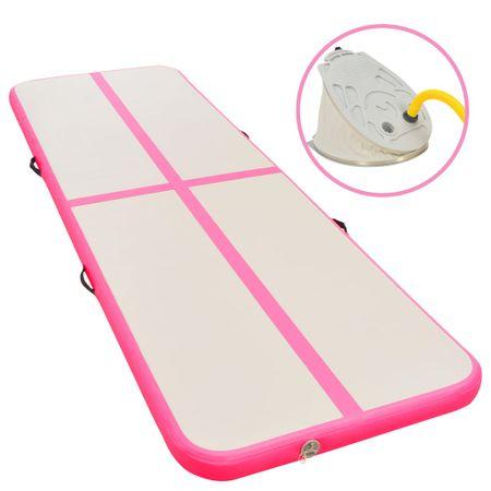 shumee rózsaszín PVC felfújható tornaszőnyeg pumpával 600x100x10 cm