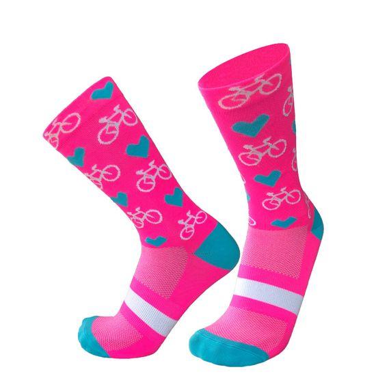 Duck Bike Cyklistické ponožky Hearts & Bikes, růžová