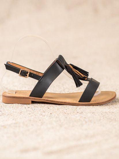 Stylomat Klasické sandálky s třásněmi, černá, velikost 39