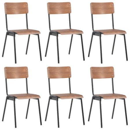 slomart Jedilni stoli 6 kosov rjavi vezani les