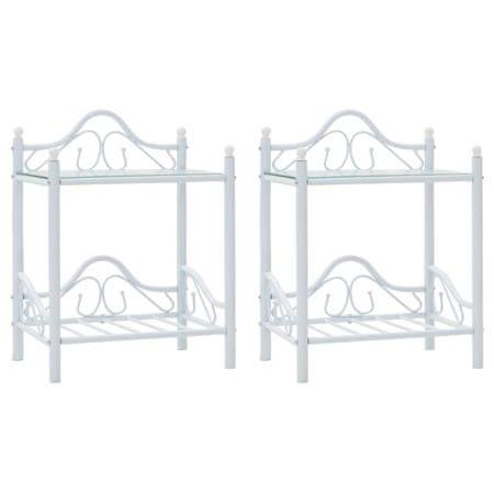 shumee 2 db fehér acél/edzett üveg éjjeliszekrény 45 x 30,5 x 60 cm