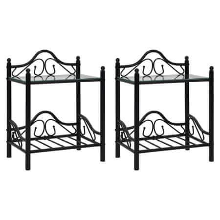 shumee 2 db fekete acél/edzett üveg éjjeliszekrény 45 x 30,5 x 60 cm