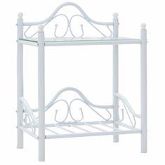 shumee fehér acél/edzett üveg éjjeliszekrény 45 x 30,5 x 60 cm