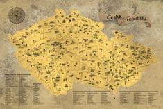 Stírací mapa Česka – zlatá Deluxe XL