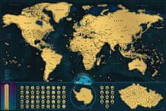 Stírací mapa Světa Česká verze – zlatá Deluxe XL