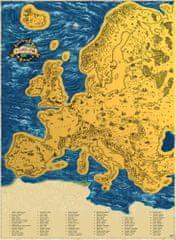 Stírací mapa Evropy – zlatá Deluxe XL