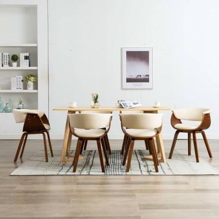 shumee Jedilni stoli 6 kosov krem ukrivljen les in umetno usnje