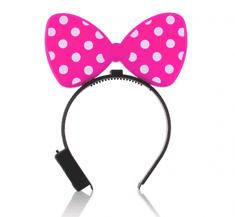 GoDan Dievčenská párty svietiaca LED čelenka Minnie mouse - ružová