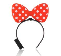 GoDan Dievčenská párty svietiaca LED čelenka Minnie mouse - červená