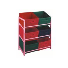 TEMPO KONDELA Regál COLOR 96, ružový rám/farebné boxy
