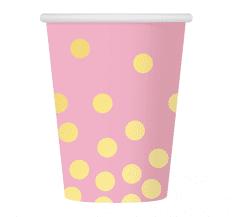 GoDan Papierové poháre EKO ružové - 6ks / 270ml