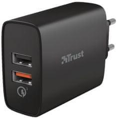 Trust QMAX USB A+A Wall Charger QC3 30 W 23559