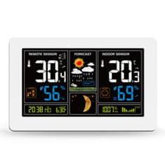 Solight Solight meteostanice, extra velký barevný LCD, teplota, vlhkost, tlak, RCC, USB nabíjení, bílá TE81W