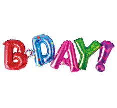 """GoDan Fóliový balón nápis """"B*Day"""" - farebný - 80 cm na vzduch"""