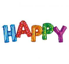 """GoDan Fóliový balón nápis """"HAPPY"""" - farebný - 92 cm na vzduch"""