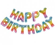 """GoDan Fóliový balón nápis """"HAPPY BIRTHDAY"""" - barevný - 35 cm na vzduch"""