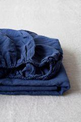 Linen Tales Lněné prostěradlo Navy Washed 160x200x20cm