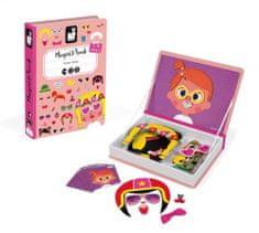 Janod Magnetická kniha Zábavné obličeje dívky 55 dílků