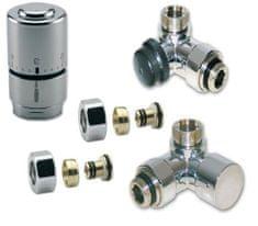 IVAR CHROMOVÝ Ventilový set pro koupelnové radiátory, úhlový, IVAR DV 016028/1 - pro PEX 16