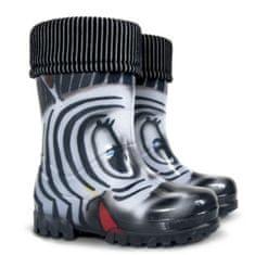 Demar Dětské zateplené holínky Demar TWISTER LUX PRINT 0038/0039 S zebra Velikost: 20/21