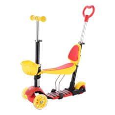 NILS Fun dětská koloběžka HLB07 4v1, žlutá/červená