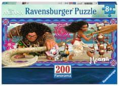Ravensburger Panoramatické puzzle Odvážná Vaiana: Dobrodružství XXL 200 dílků