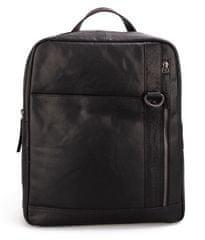 Spikes&Sparrow Černý kožený batoh SPIKES & SPARROW