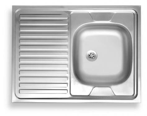 Novaservis Nerezový dřez 60x80 odkap vlevo, hranatý, stříbrný - DR60/80L