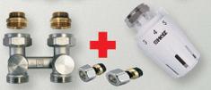 Herz Ventilový set pro radiátory se spodním připojením, přímý pro PEX 16