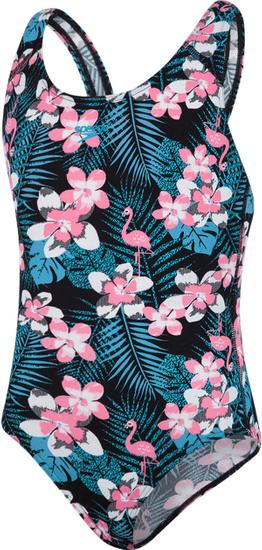 Speedo dievčenské jednodielne plavky JUNGLEGLOW ALLOVER Splashback 128, čierna / ružová