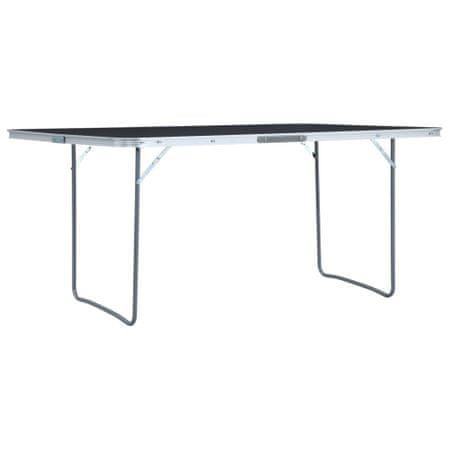 slomart Zložljiva miza za kampiranje siva iz aluminija 180x60 cm