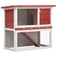 Vonkajšia králikáreň, 1 dvierka, červená, drevo