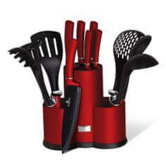 Berlingerhaus Burgundy Metallic Line komplet nožev in kuhinjskih pripomočkov s stojalom, 12 kosov