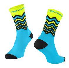Force Cyklistické ponožky Wave - modro-fluo žluté