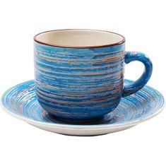 KARE Šálek s podšálkem Swirl Blue