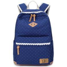 TopBags Dámský studentský batoh Canvas dot - Dark Blue 19 l