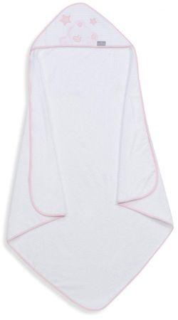 Interbaby frottír törölköző 100×100 medve csillaggal - fehér/rózsaszín