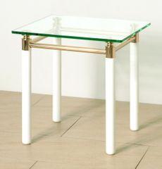 Mørtens Furniture Konferenčný stolík Terrell, 60 cm, biela/zlatá