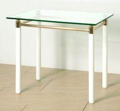 Mørtens Furniture Odkladací stolík Terrell, 74 cm, biela/zlatá